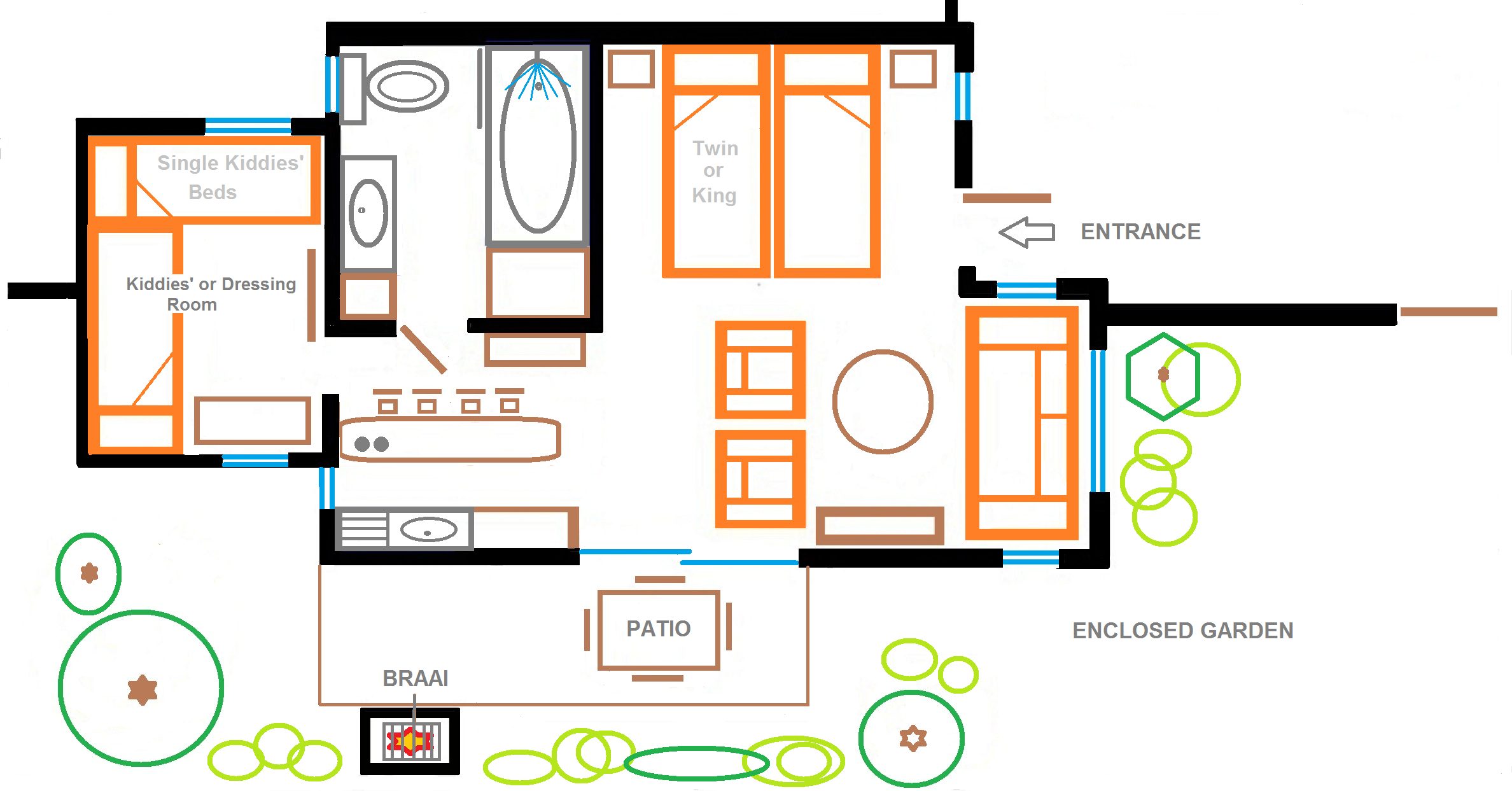 Self catering in hermanus the garden cottage eastbury for Area of a floor plan