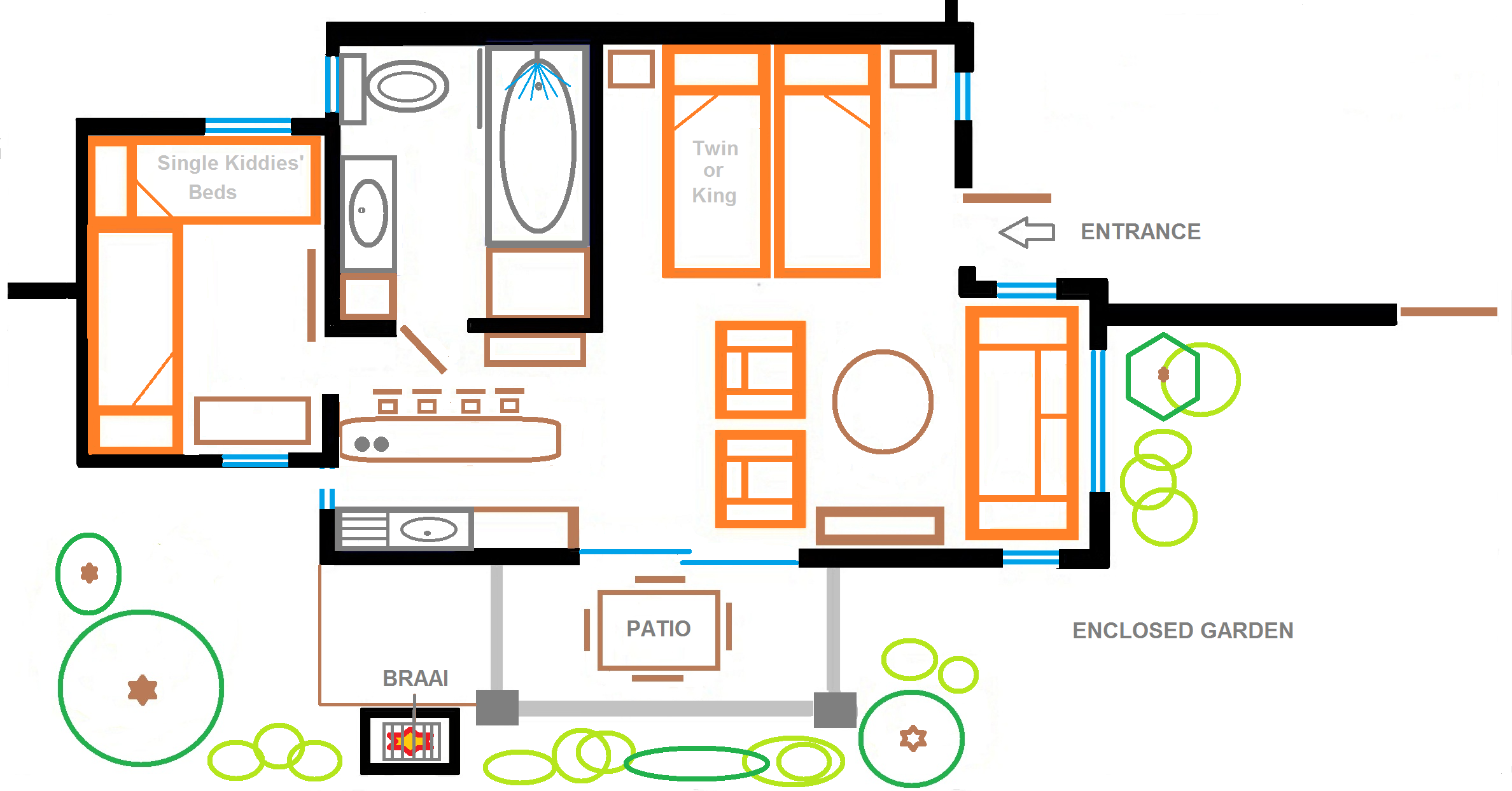 Self catering in hermanus the garden cottage eastbury for Backyard cottage floor plans