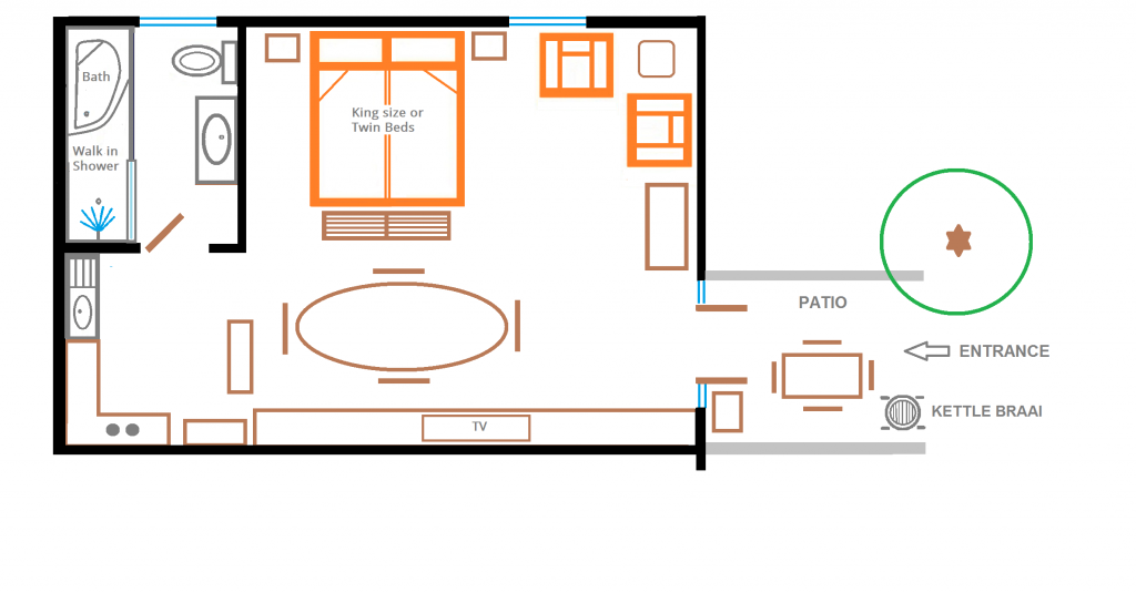 Floor plan rose room with new bathroom
