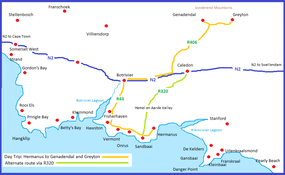 Map Hermanus to Greyton Genadendal - Eastbury Cottage