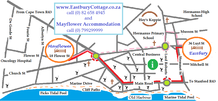 Map Eastbury Cottage and Mayflower Accommodation