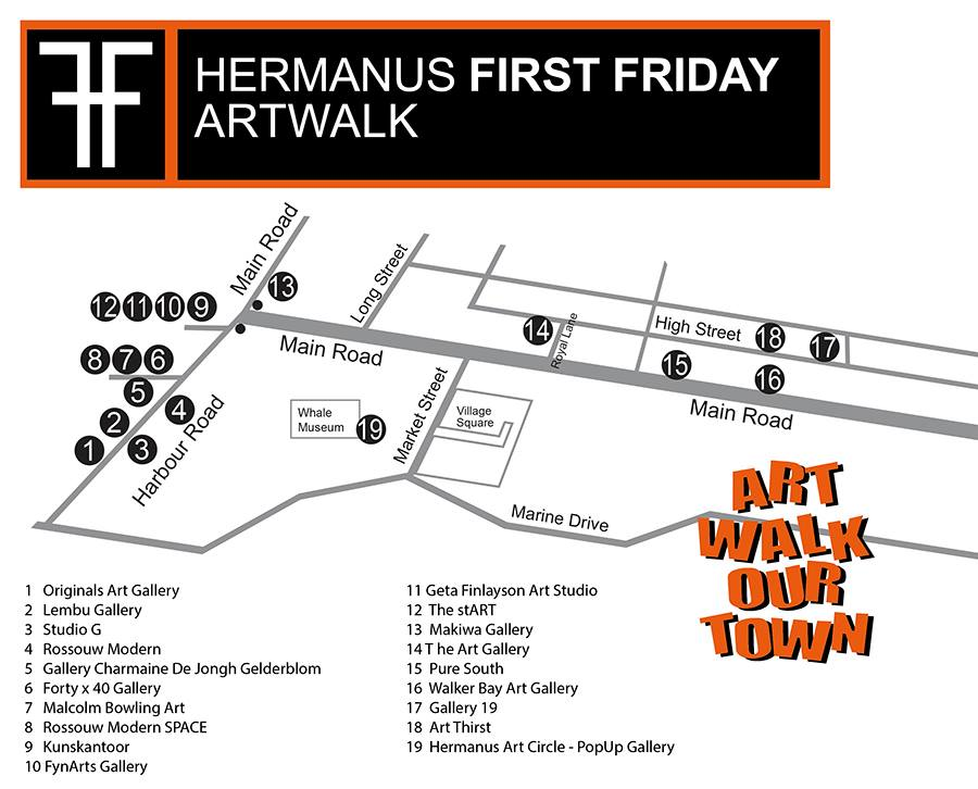 First Fridays Art Walk Hermanus Route Map